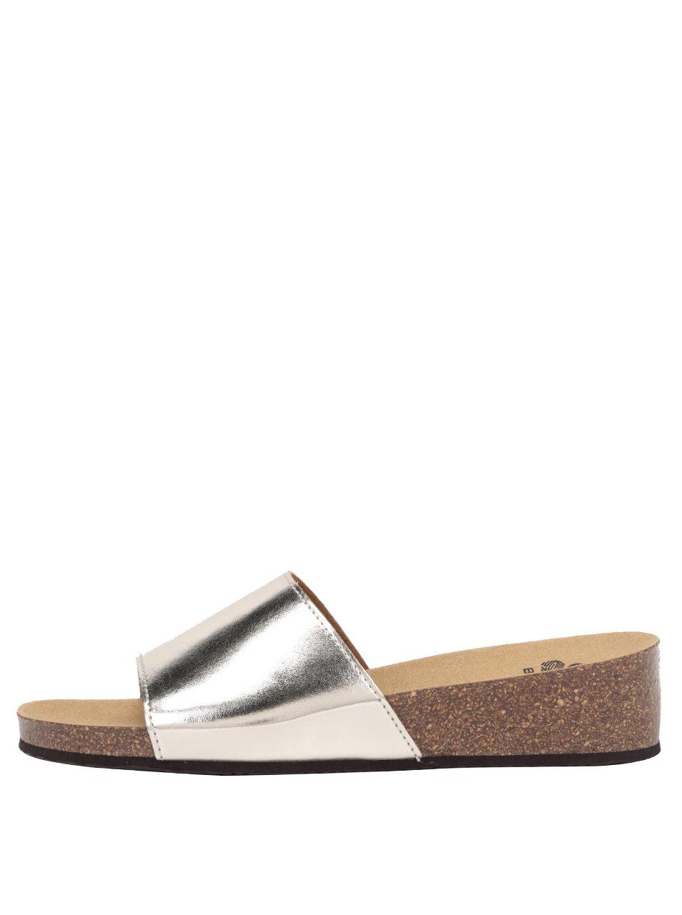 Dámské zdravotní pantofle ve zlatostříbrné barvě Scholl Vinny