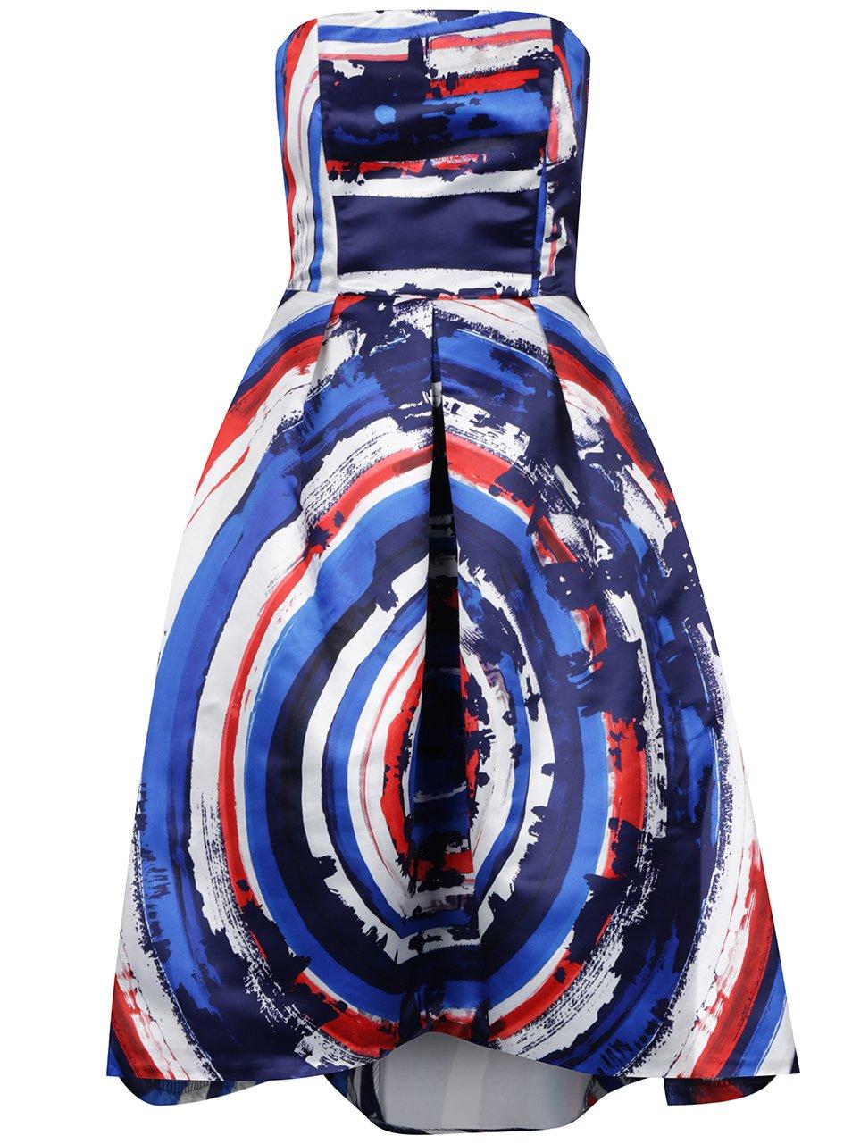 Bílo-modré lesklé vzorované midišaty bez ramínek Closet