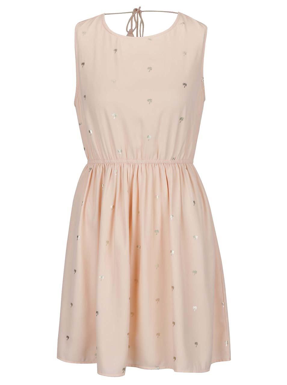Světle růžové šaty s potiskem a odhalenými zády VILA Pana