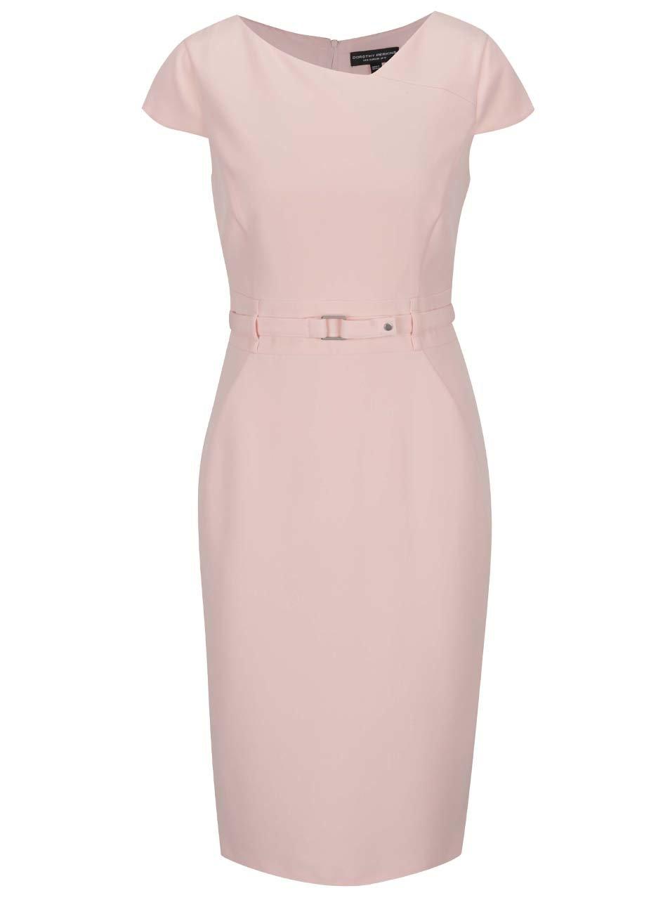 Růžové pouzdrové šaty s páskem Dorothy Perkins