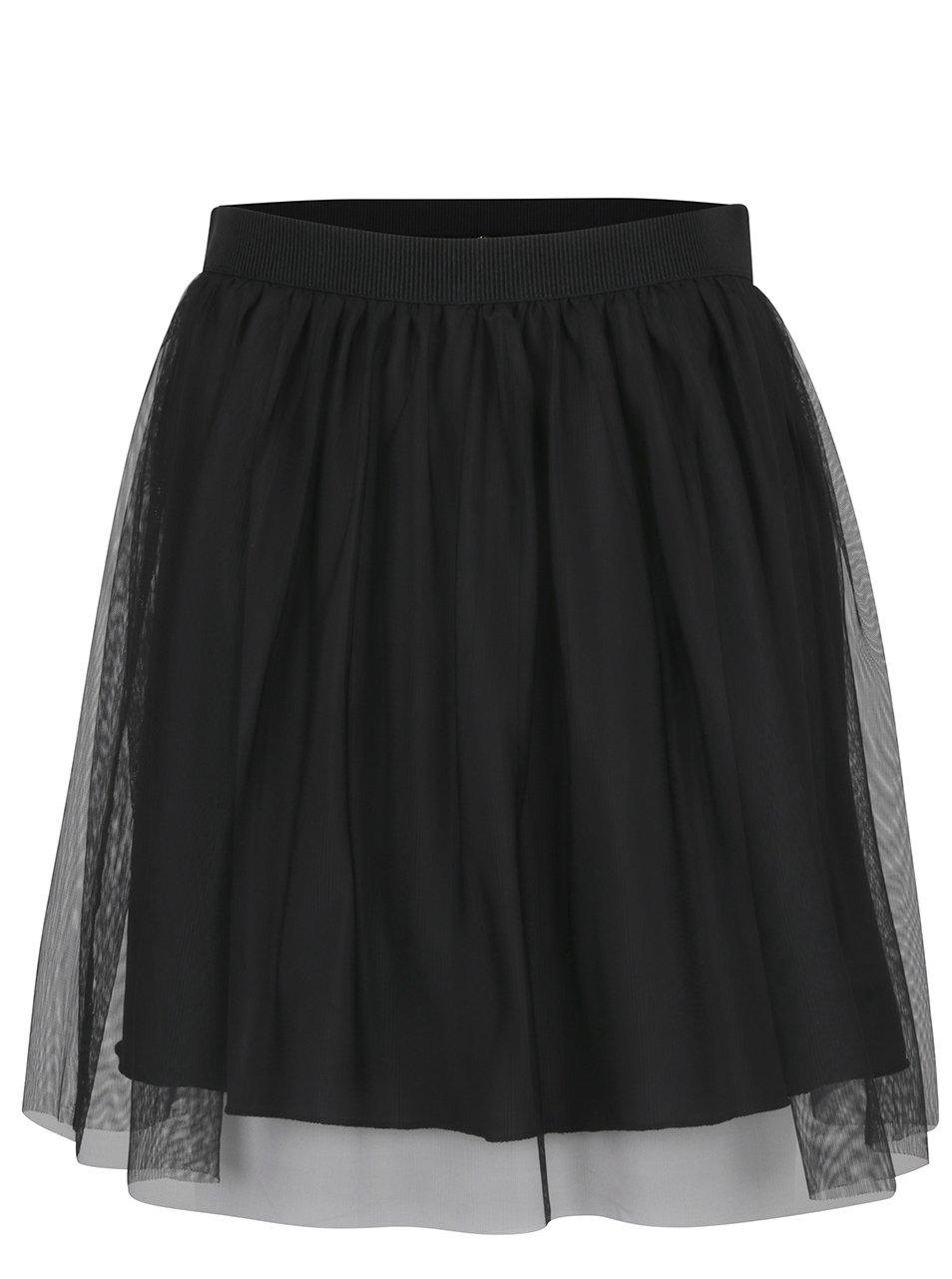 Černá tylová sukně s gumou v pase ONLY Fiona