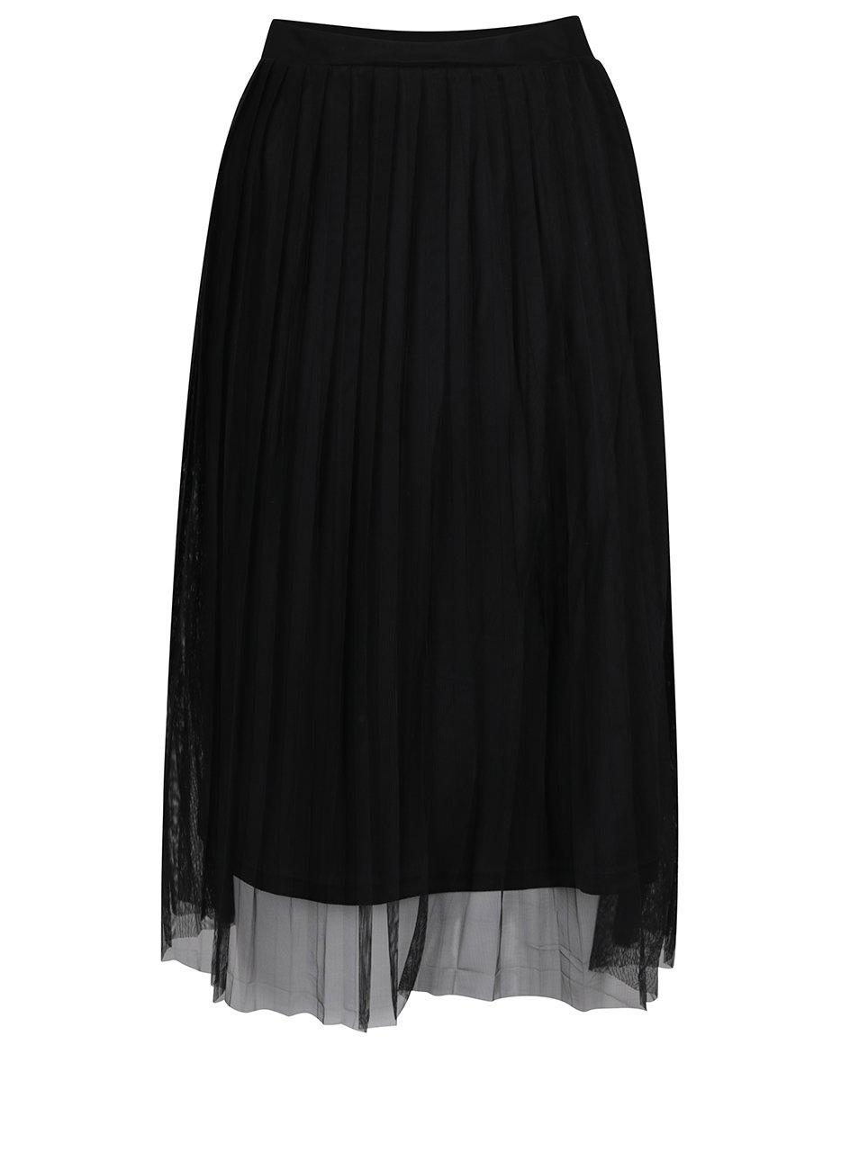 Černá tylová plisovaná midi sukně ONLY Fiona