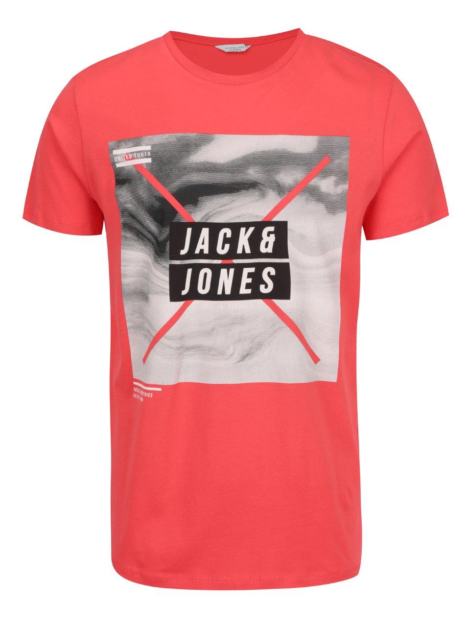 Červené triko s potiskem Jack & Jones Mango