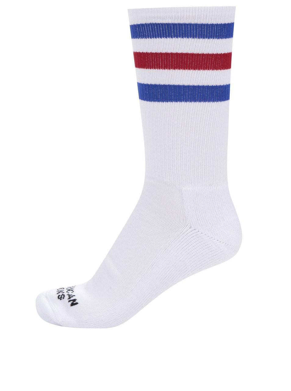 Bílé pánské ponožky s pruhy American socks Pride II.