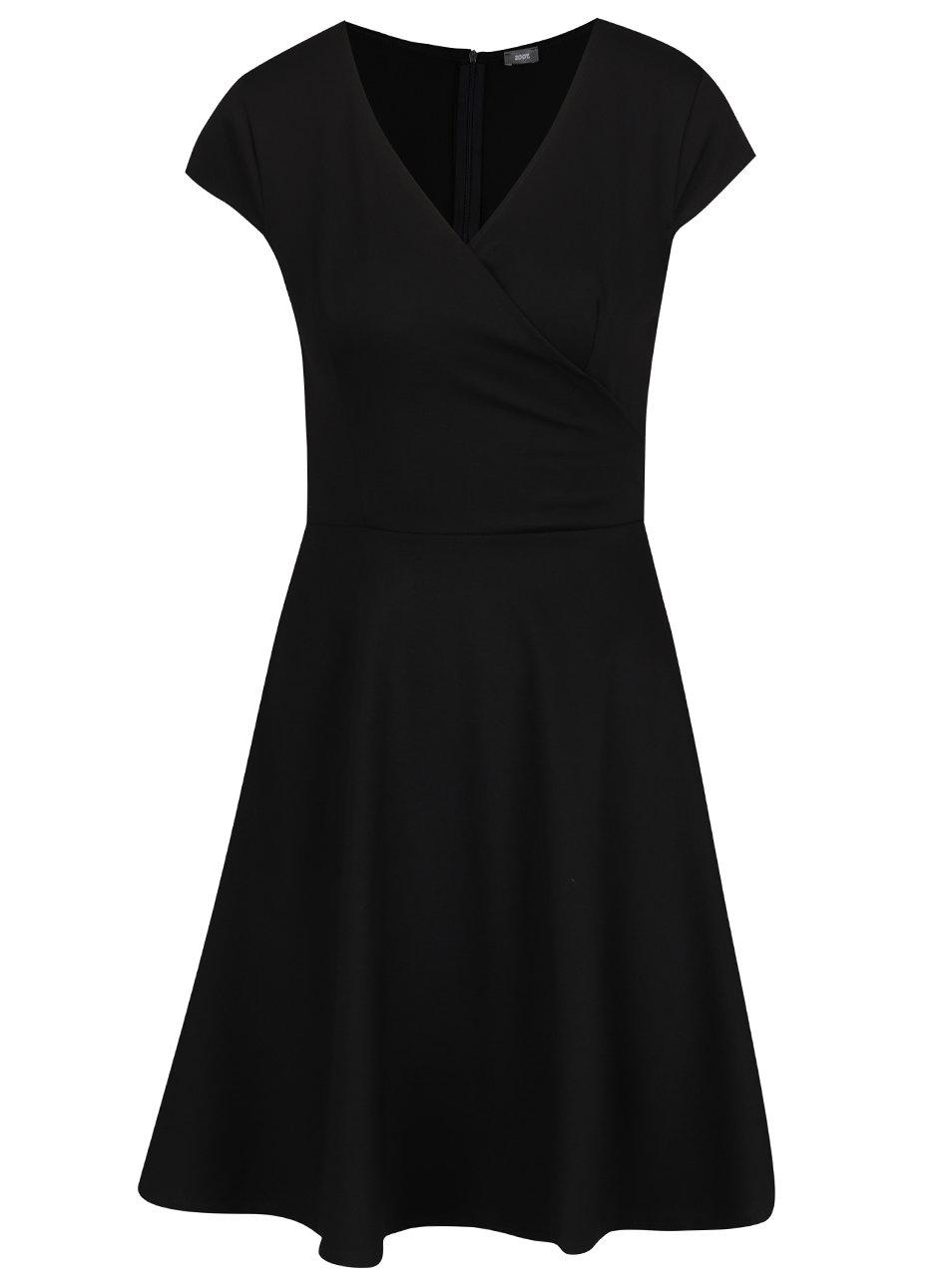 Čierne šaty s prekladaným výstrihom ZOOT