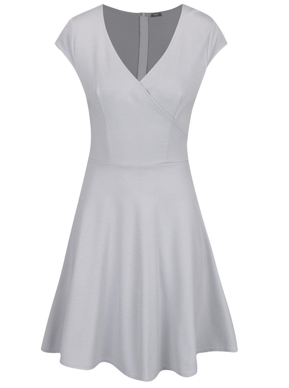 Sivé šaty s prekladaným výstrihom ZOOT