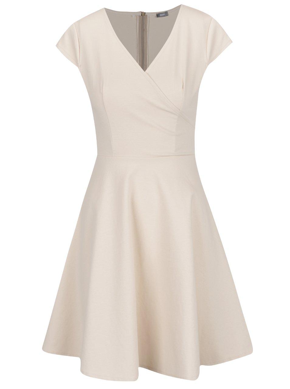 Krémové šaty s prekladaným výstrihom ZOOT