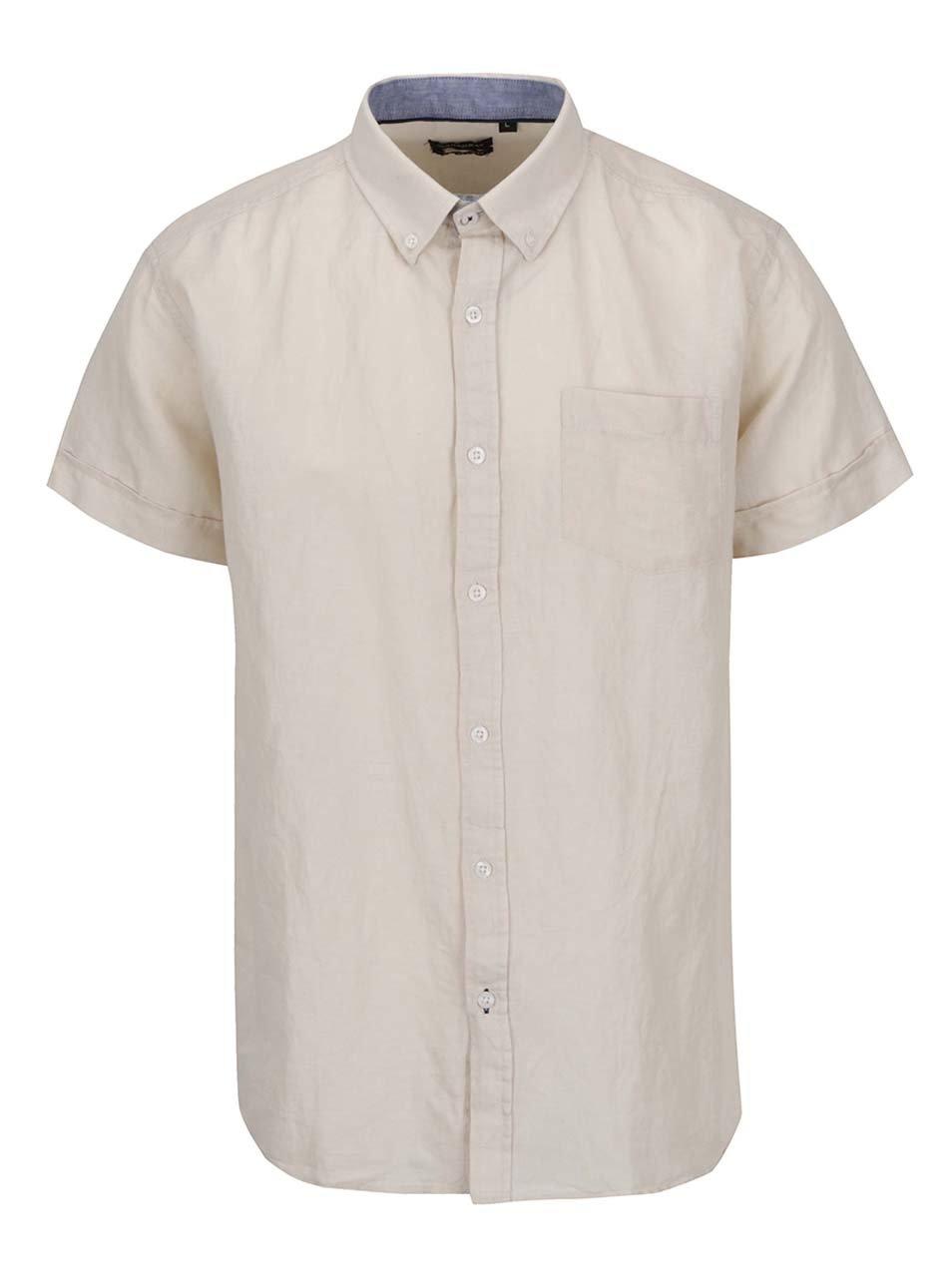 Béžová pánská košile s příměsí lnu Broadway Fayt