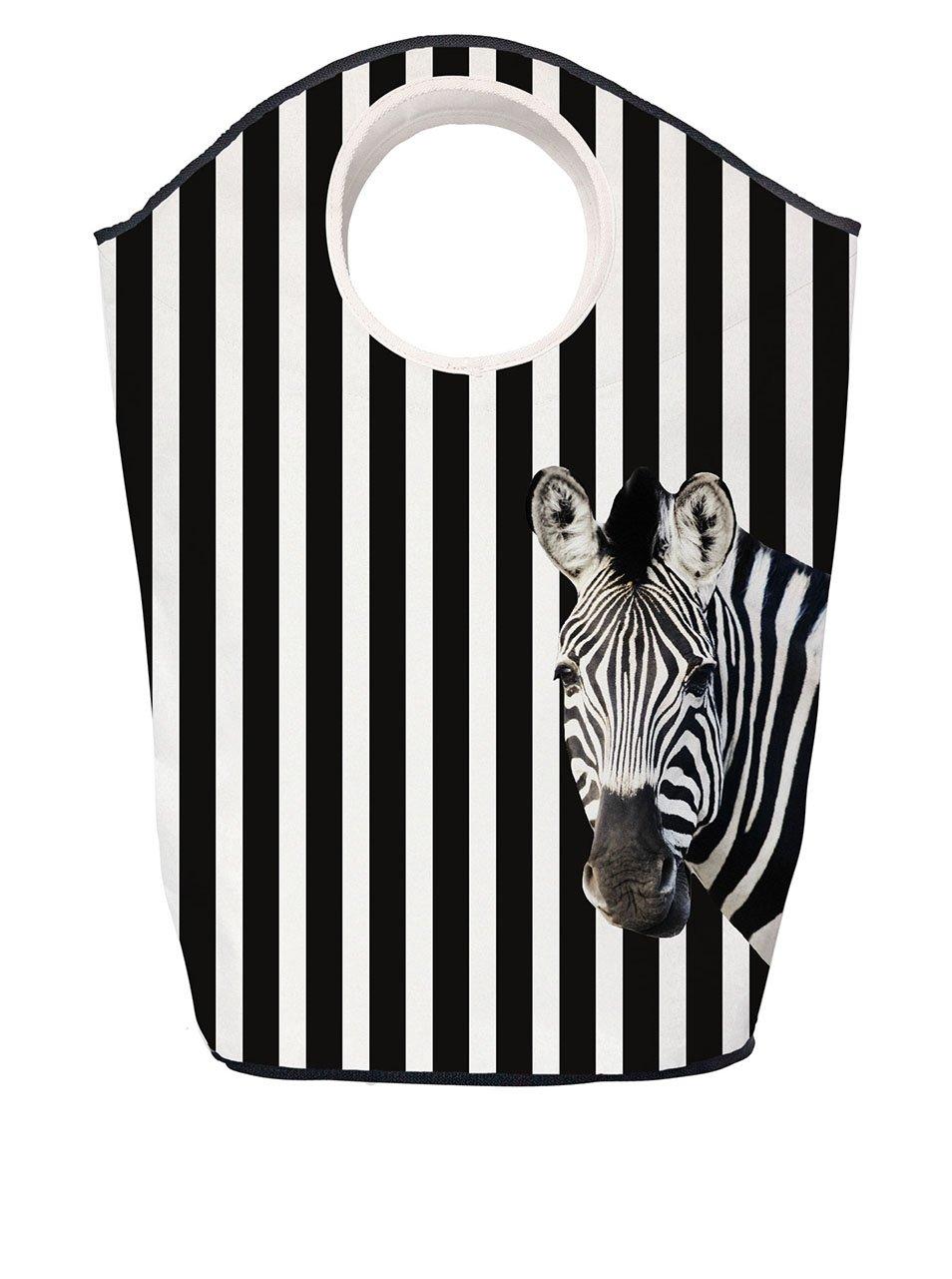 Krémovo-černý pruhovaný koš na prádlo s motivem zebry Butter Kings