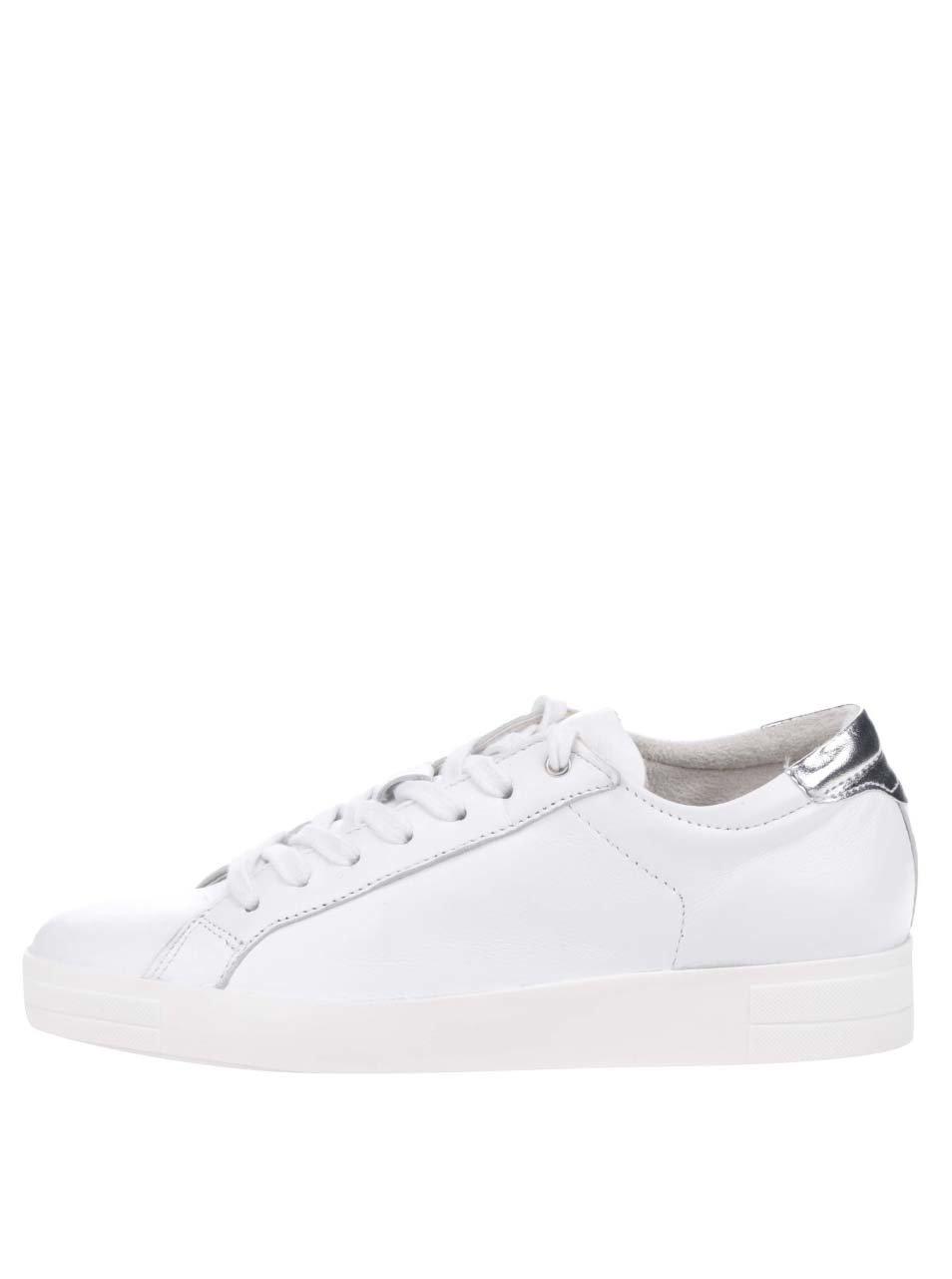 Bílé kožené tenisky s detaily ve stříbrné barvě Tamaris ŽENY   Boty    tenisky 7741ab5a8b2