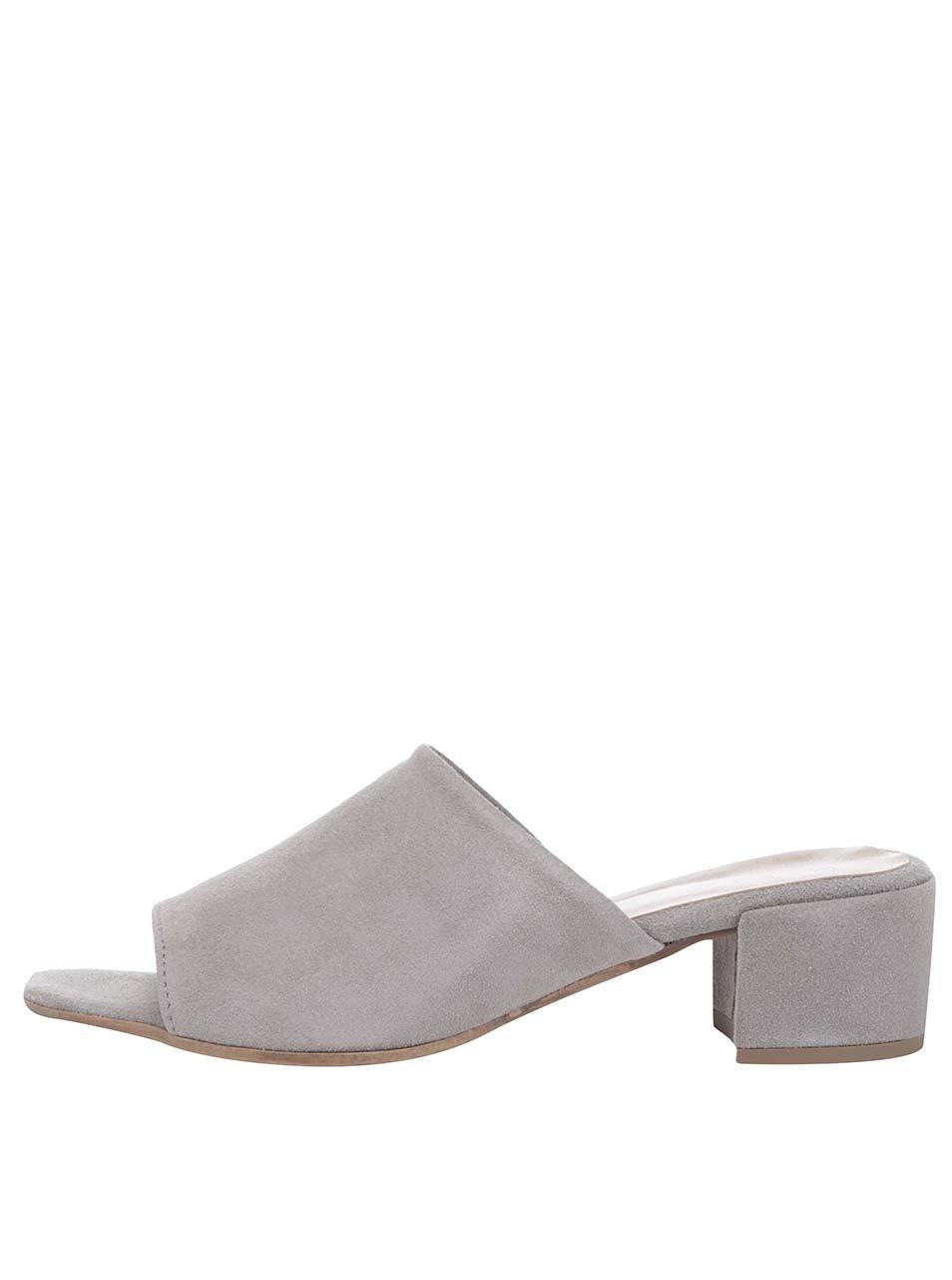 Šedé semišové pantofle na podpatku Tamaris