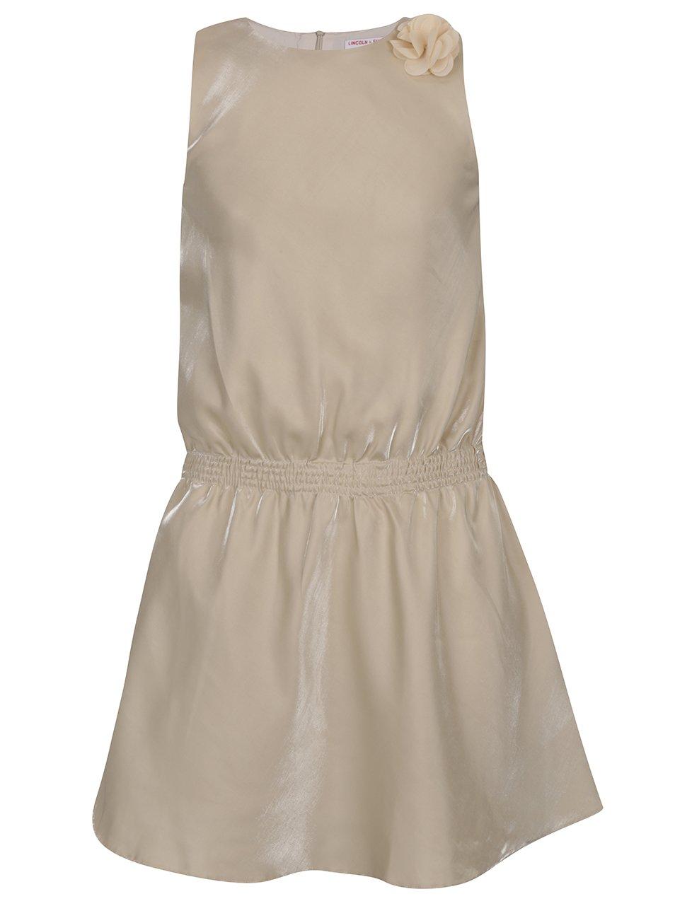 Béžové holčičí lesklé šaty s ozdobou 5.10.15.