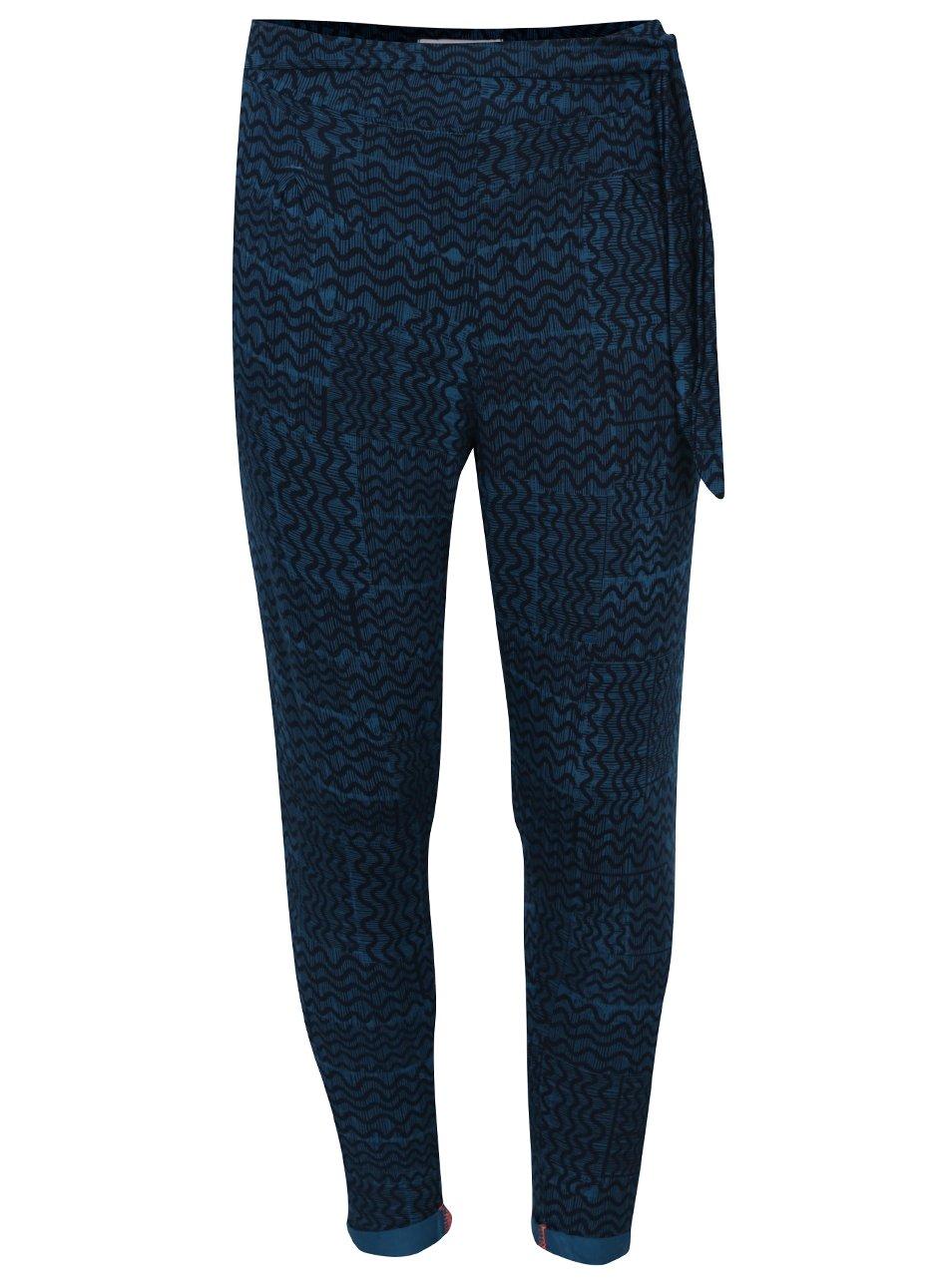 Černo-modré holčičí vzorované volné kalhoty se zavazováním v pase 5.10.15.