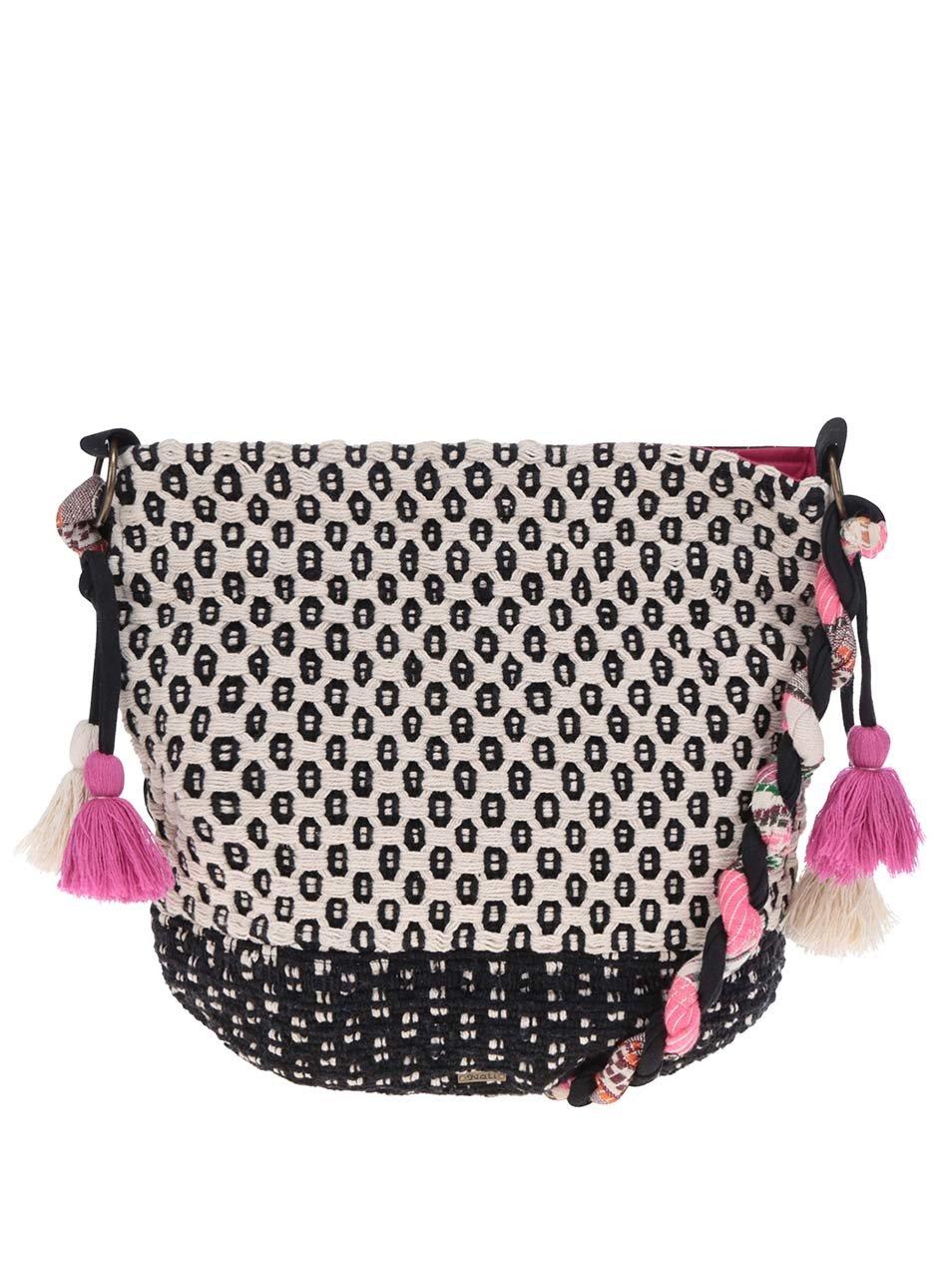 Černo-krémová vzorovaná pletená crossbody kabelka Nalí