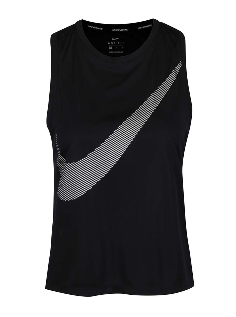 Černé dámské funkční tílko s potiskem Nike Dry