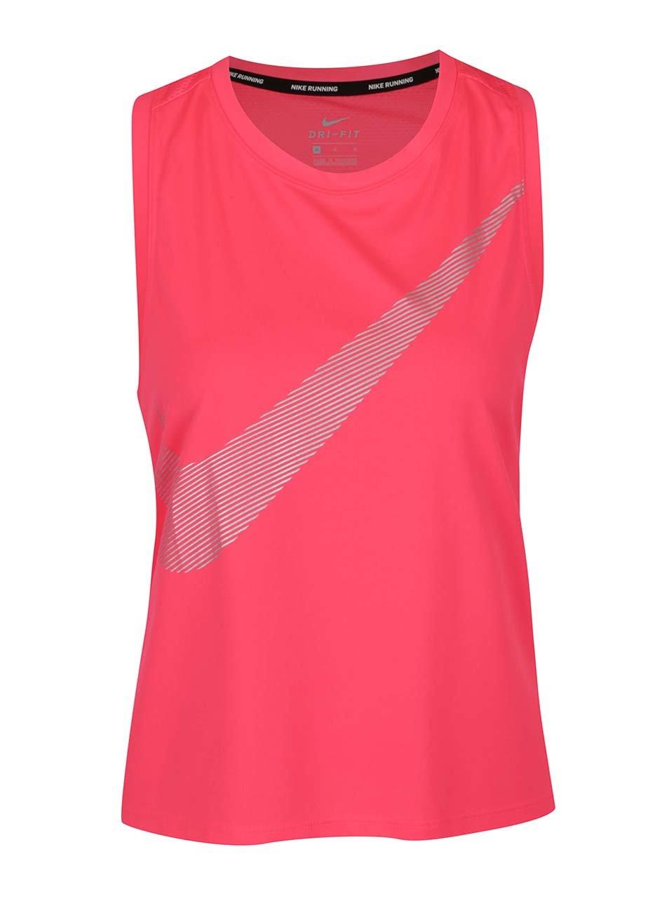 Růžové dámské funkční tílko s potiskem Nike Dry
