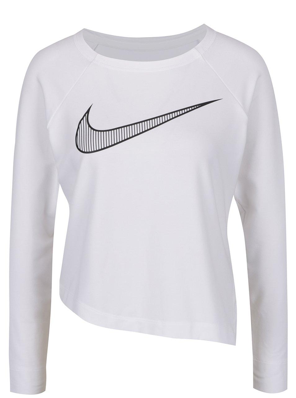 Bílé asymetrické tričko s dlouhým rukávem a potiskem Nike