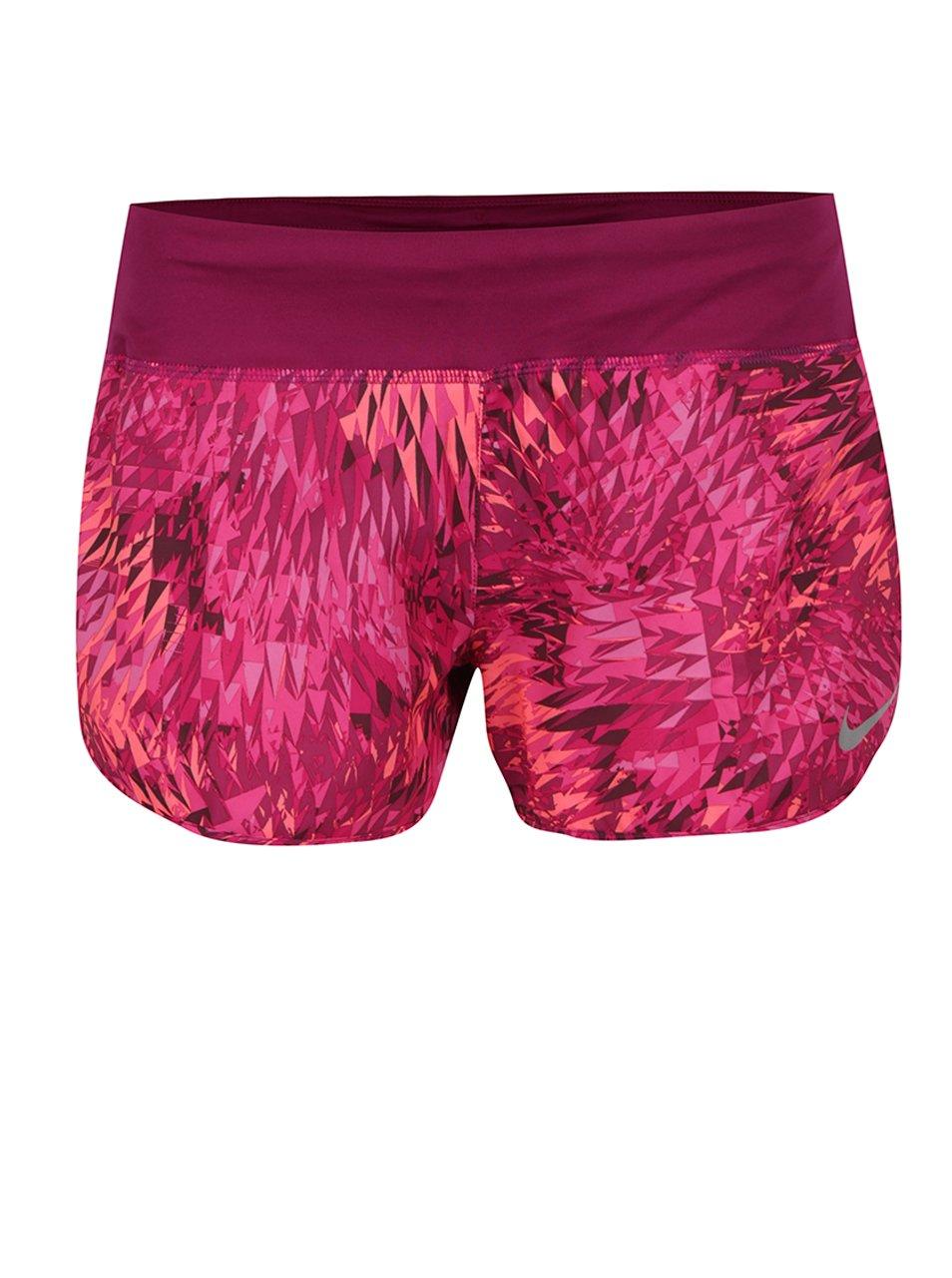 Růžovo-fialové dámské funkční vzorované kraťasy Nike