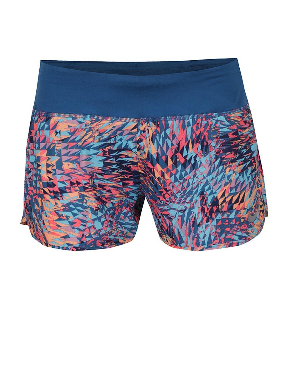 Oranžovo-modré dámské funkční vzorované kraťasy Nike