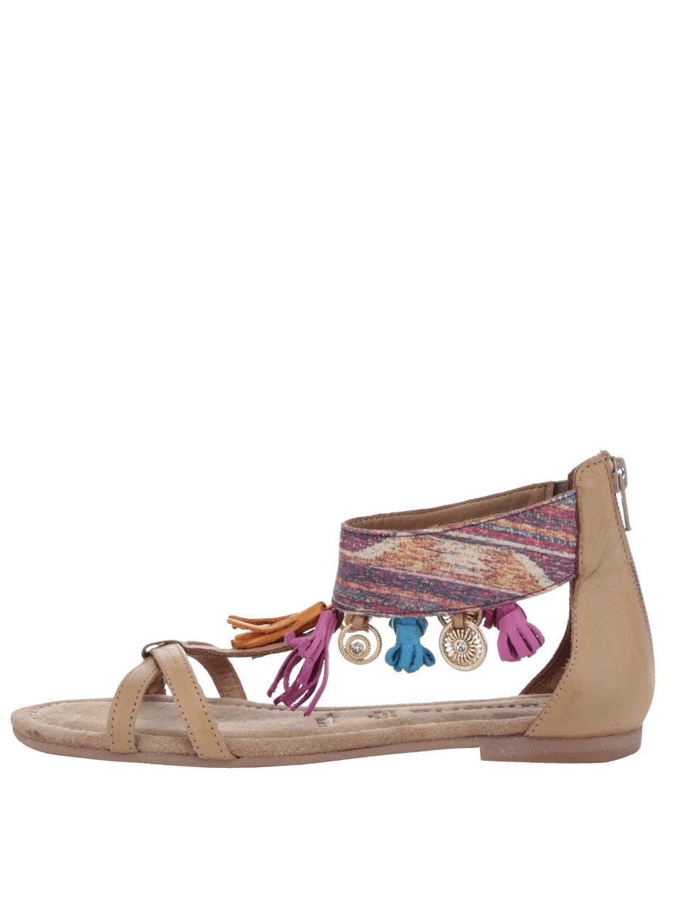 Hnědé kožené sandály s barevnými střapci Tamaris