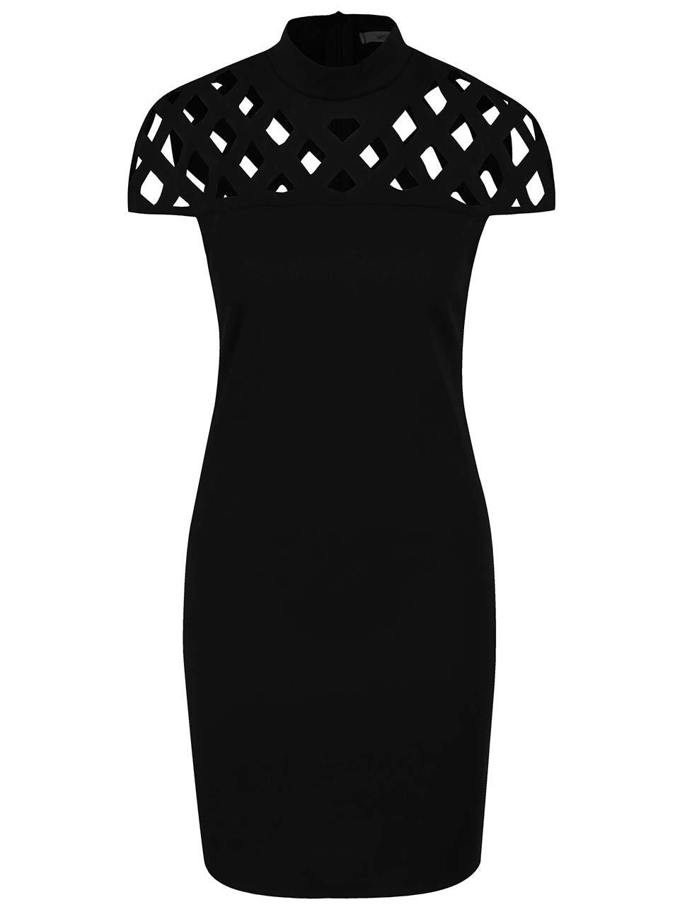Černé šaty s perforovaným sedlem Haily´s Jessy