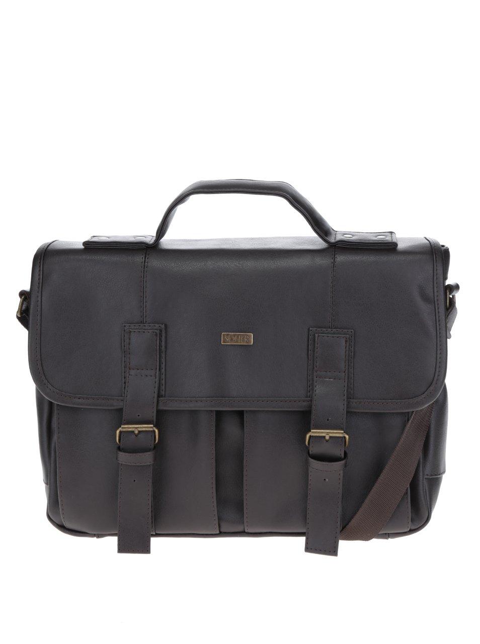 Tmavohnedá pánska taška s prednými vreckami Solier b4d4e84402b