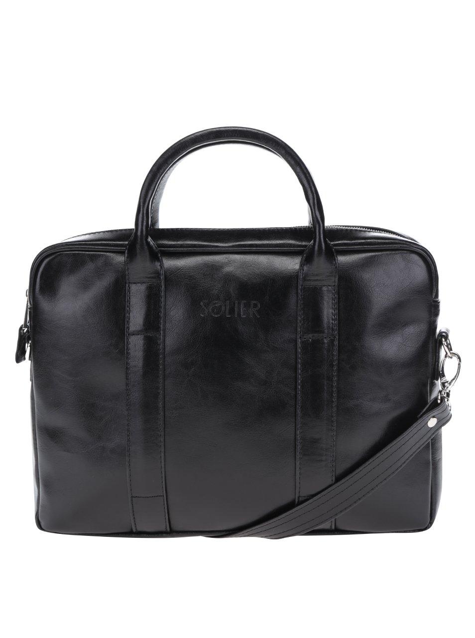 Čierna pánska lesklá kožená taška na notebook Solier
