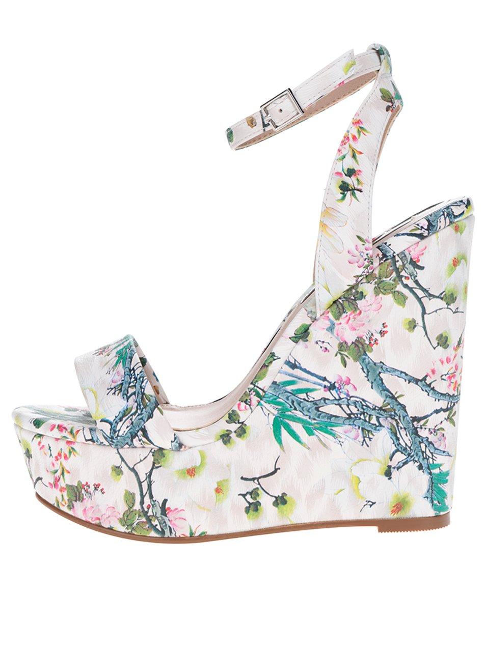 Krémové vzorované sandálky na klínku Miss Selfridge