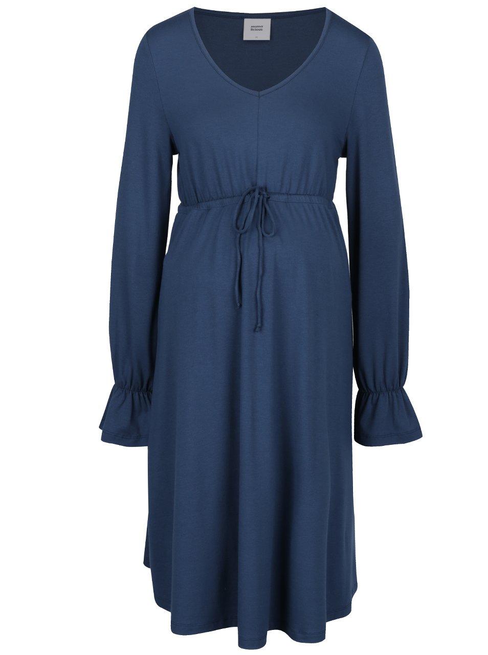 Modré těhotenské šaty se stahováním v pase Mama.licious Sophie