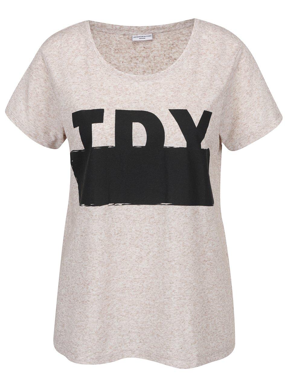 Béžové žíhané tričko s potiskem Jacqueline de Yong Bolette