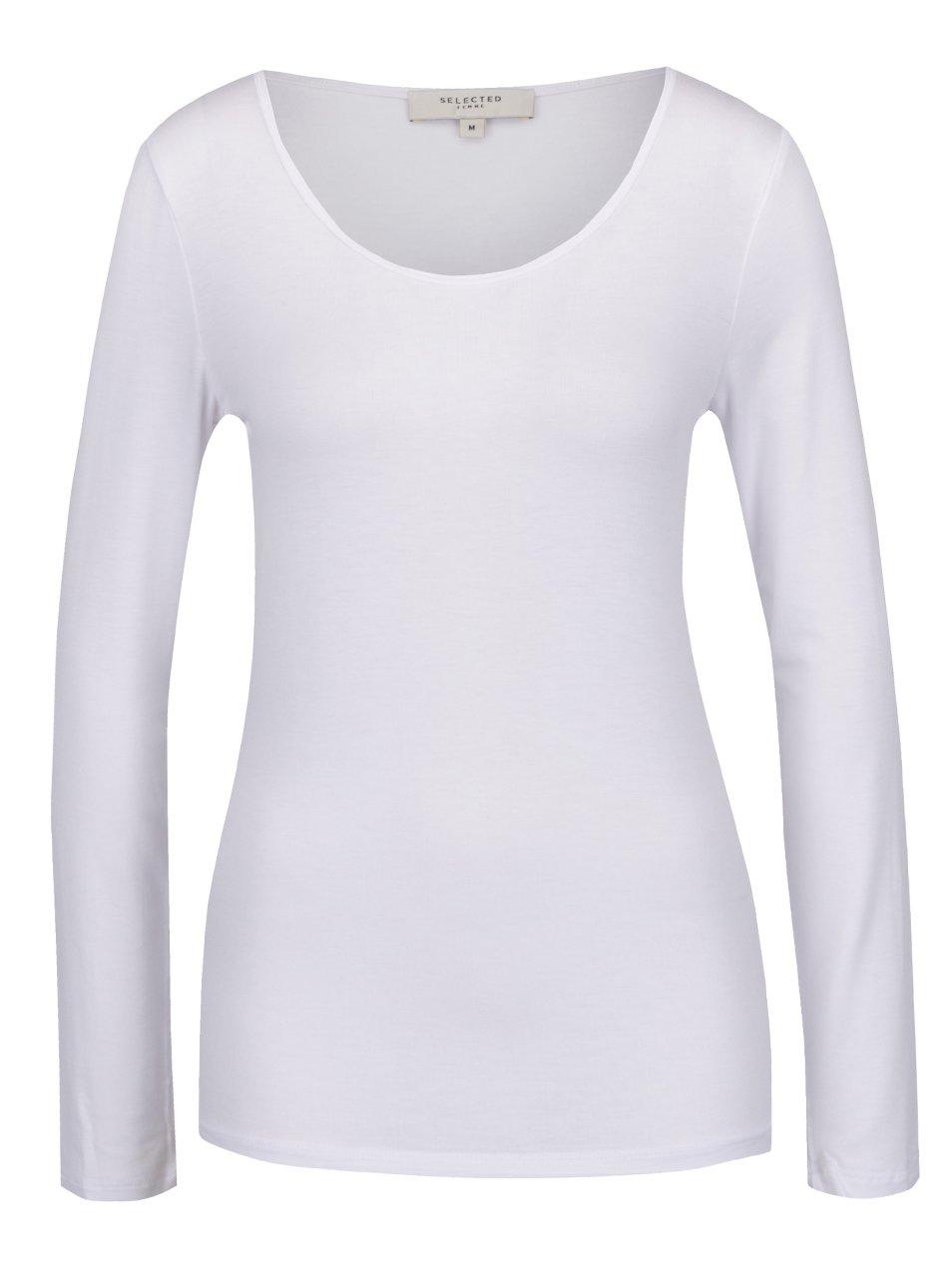 Fotografie Bílé basic tričko s dlouhým rukávem Selected Femme Mio