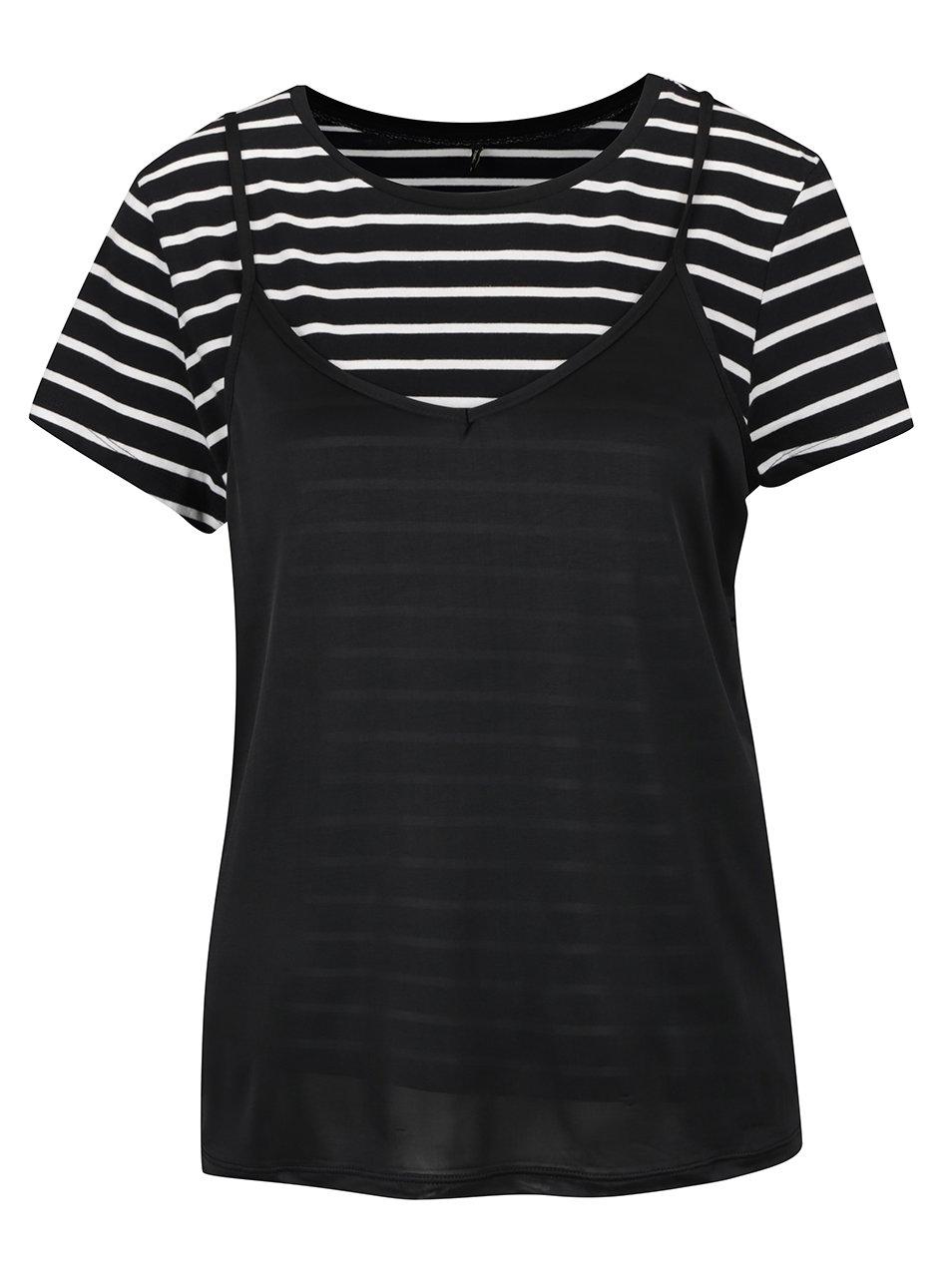 Černé pruhované tričko s tílkem ONLY New Clora
