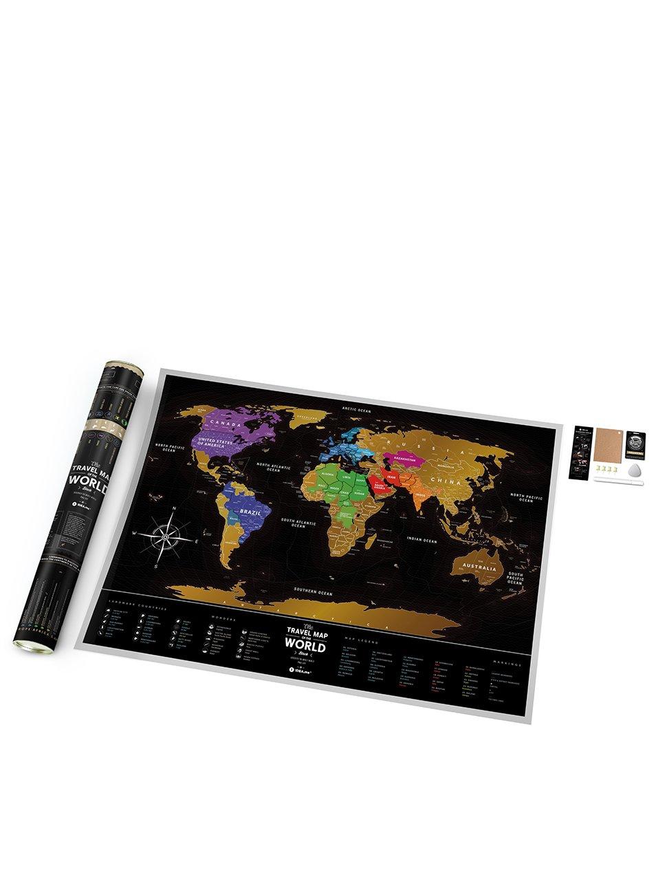 Stírací mapa světa v černo-zlaté barvě Travel Map
