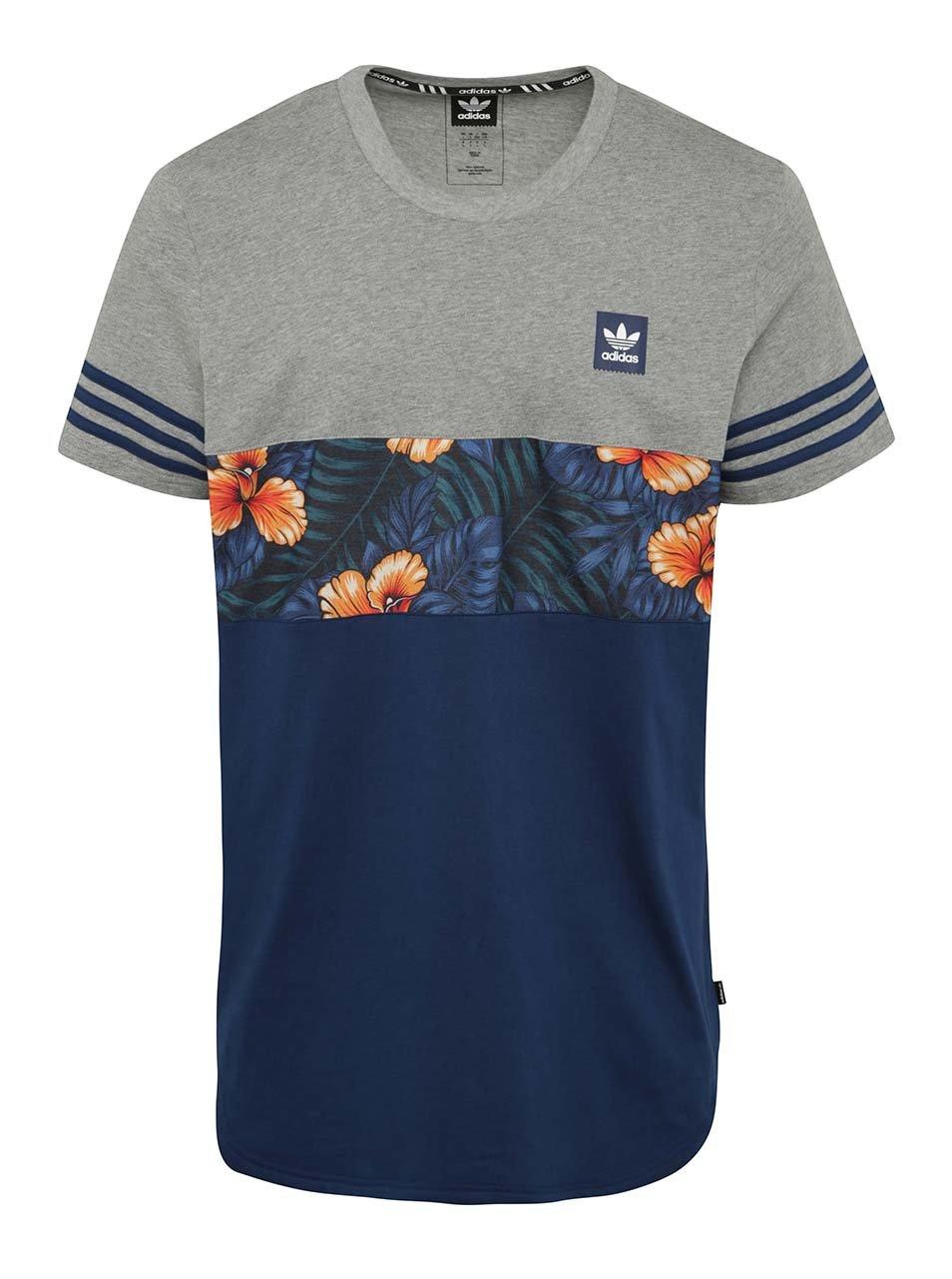 Šedo-modré pánské tričko s krátkým rukávem adidas Originals