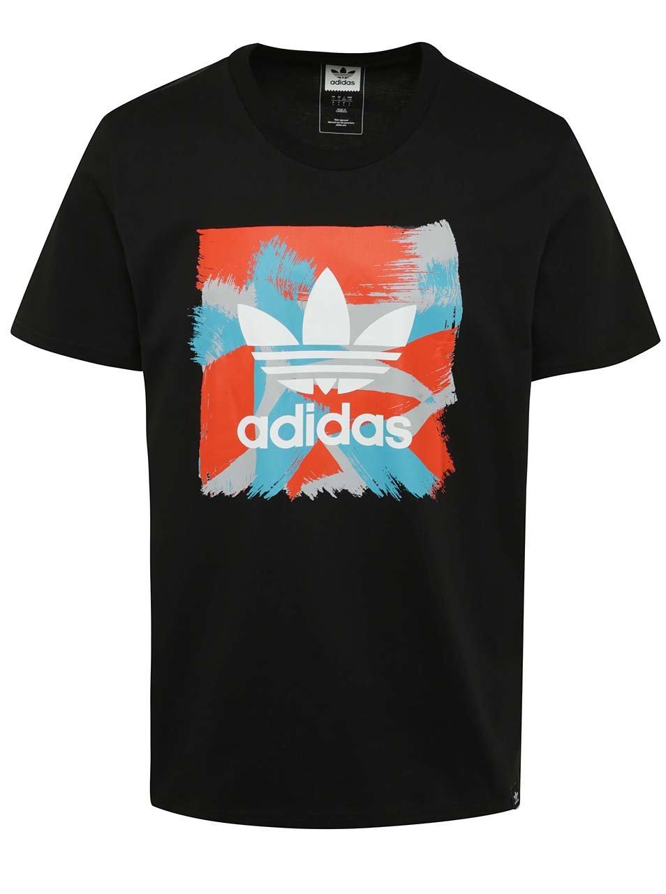 Černé pánské triko s krátkým rukávem a barevným potiskem adidas Originals