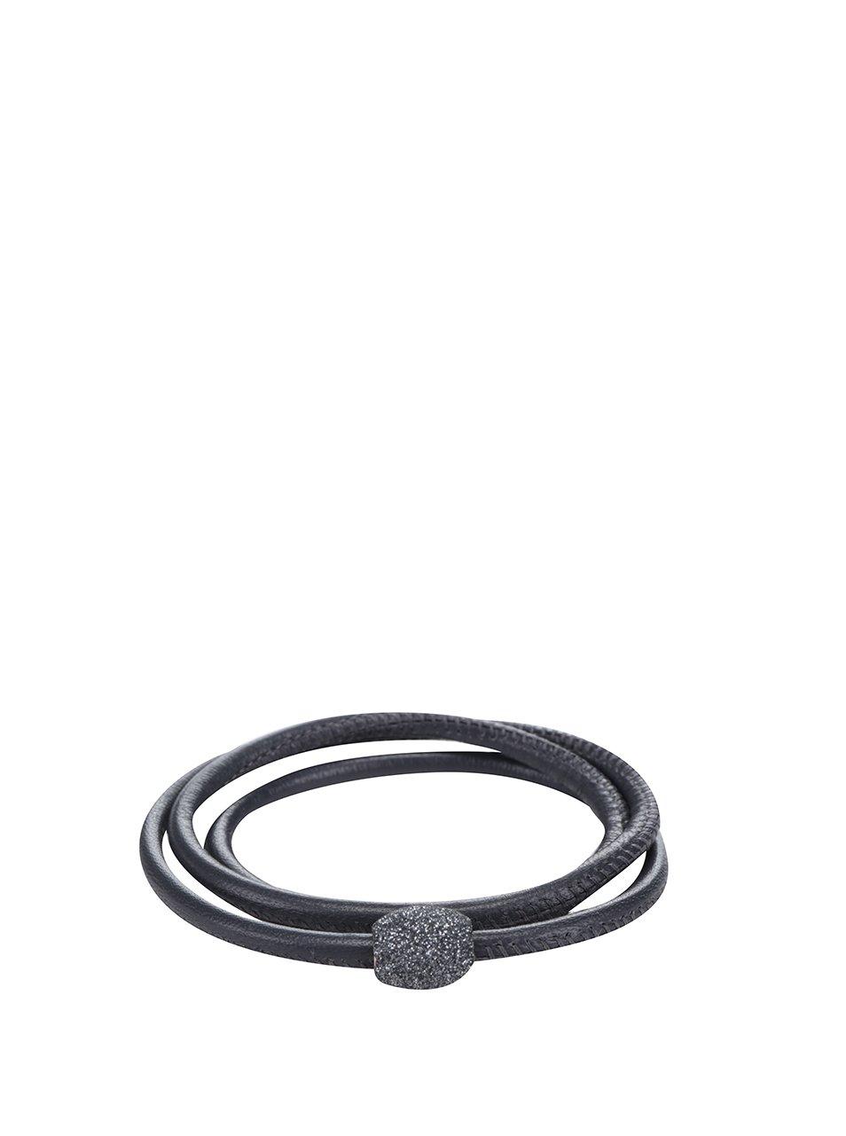 Černý kožený náramek s pískovanou třpytivou ozdobou Qudo Miniera