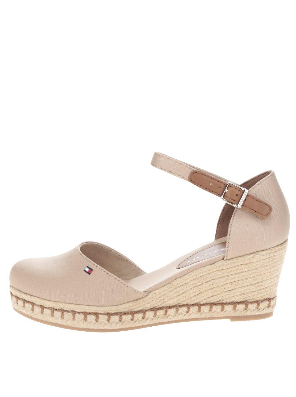 Béžové dámské sandály na klínku Tommy Hilfiger