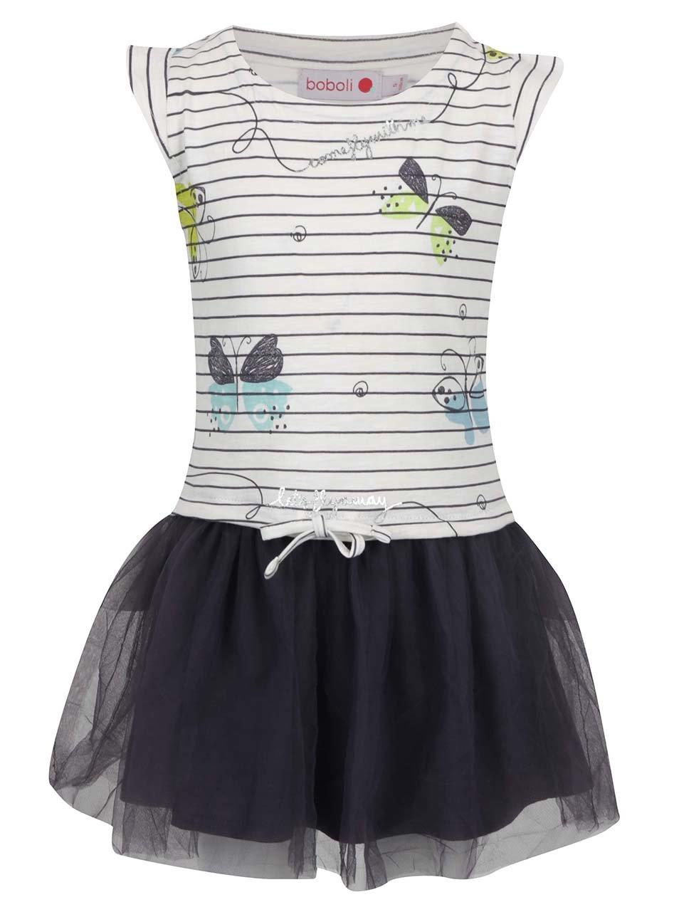 Bílo-šedé holčičí pruhované šaty s potiskem Bóboli