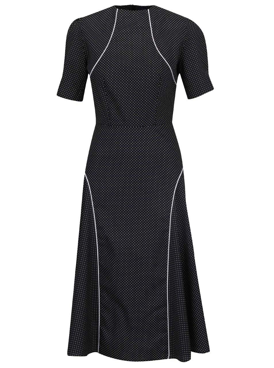 Černé šaty puntíkované šaty s krátkým rukávem Lazy Eye Herberta