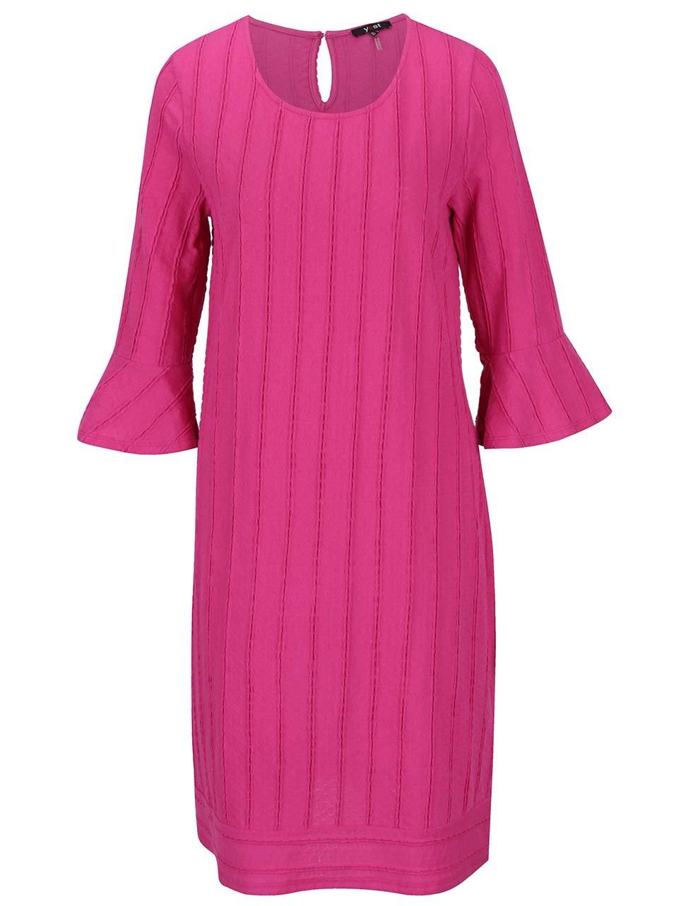Růžové šaty s 3/4 volánovým rukávem Yest