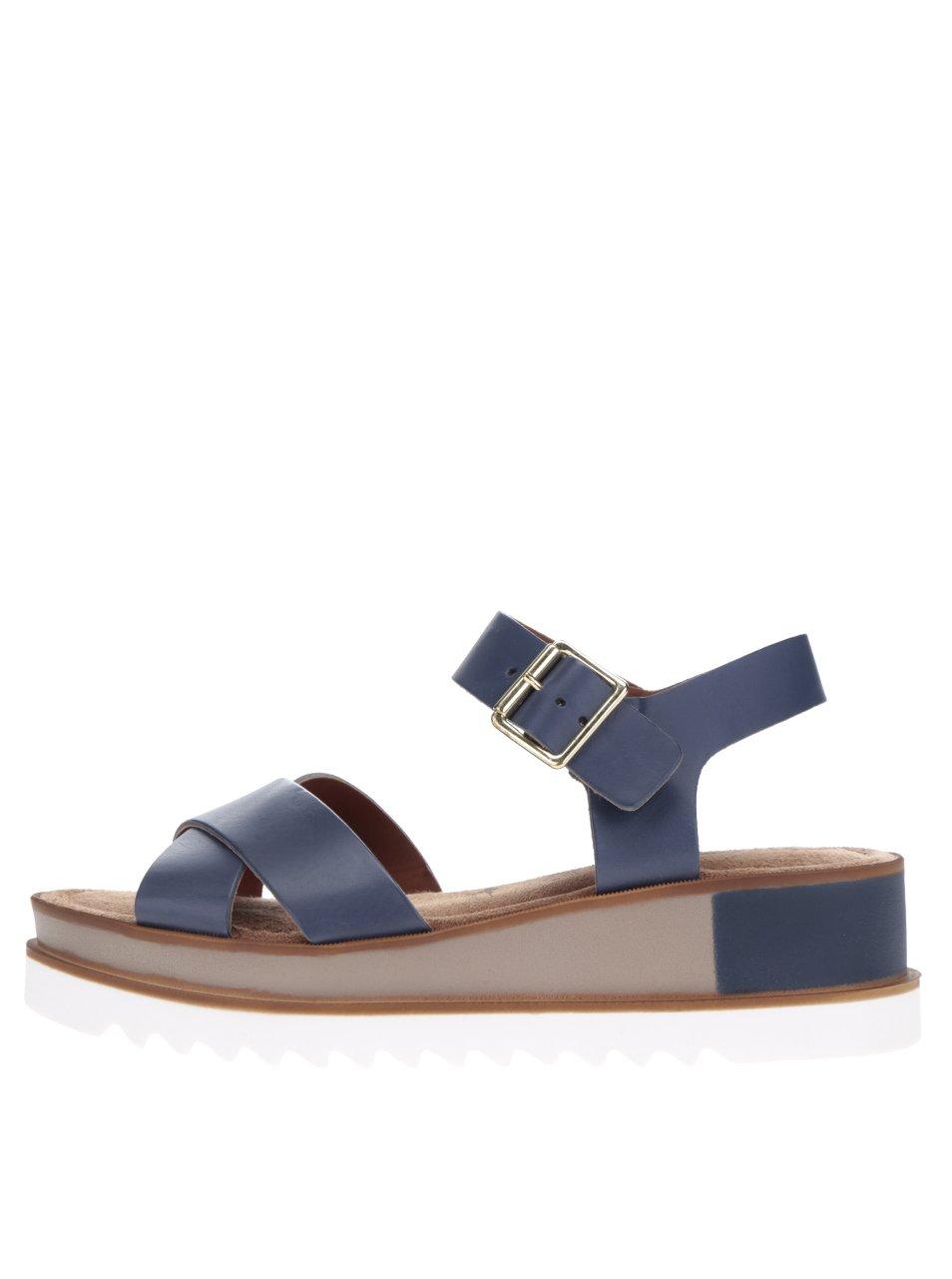 Tmavě modré kožené sandály na platformě Tamaris