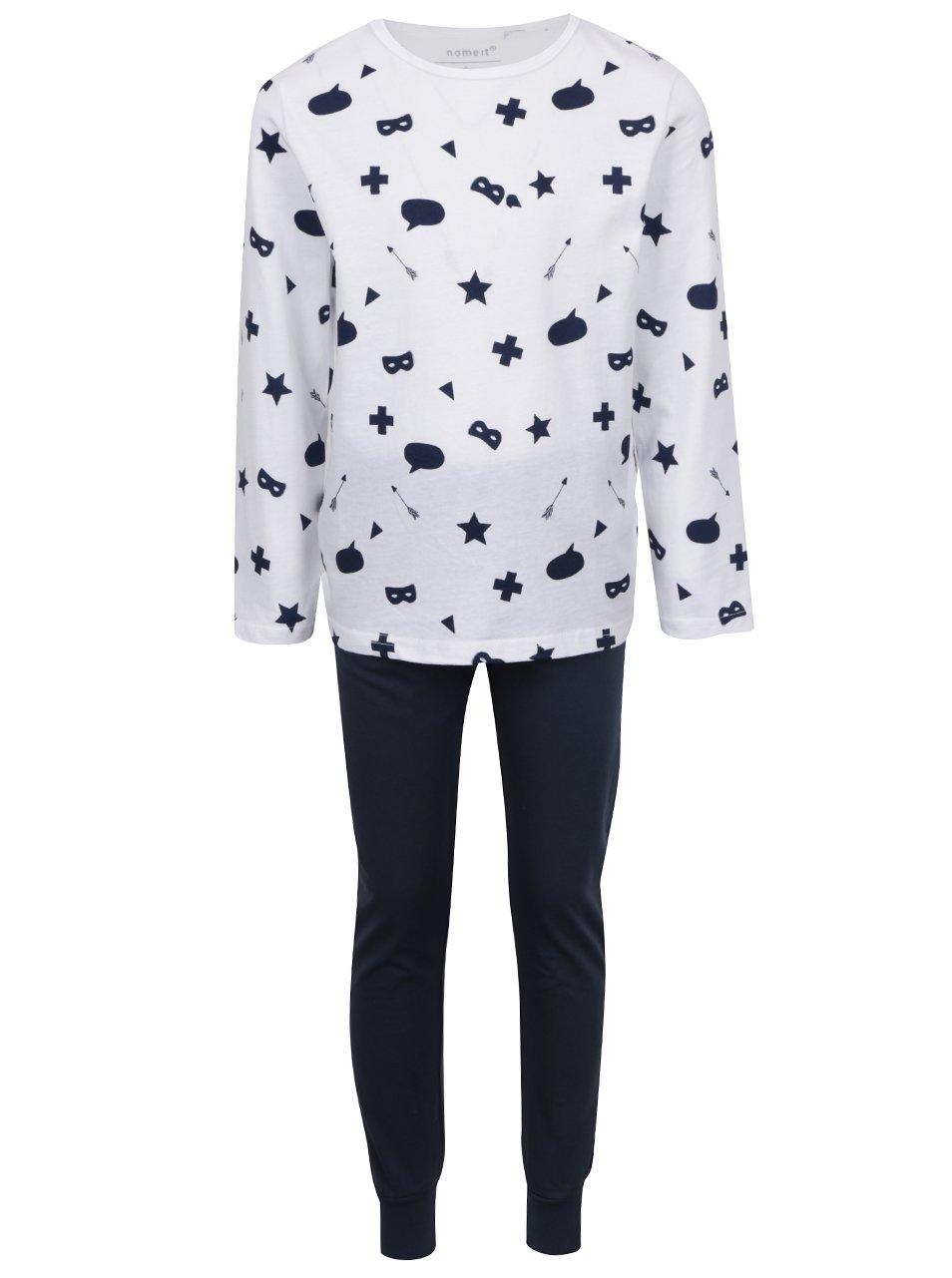 Bielo-modré chlapčenské vzorované pyžamo name it Night