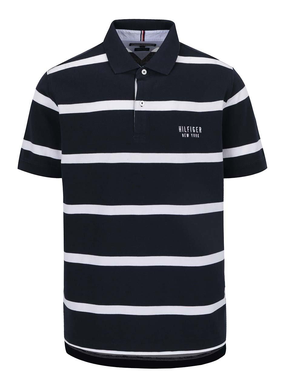 Tmavě modré pánské pruhované polo triko Tommy Hilfiger