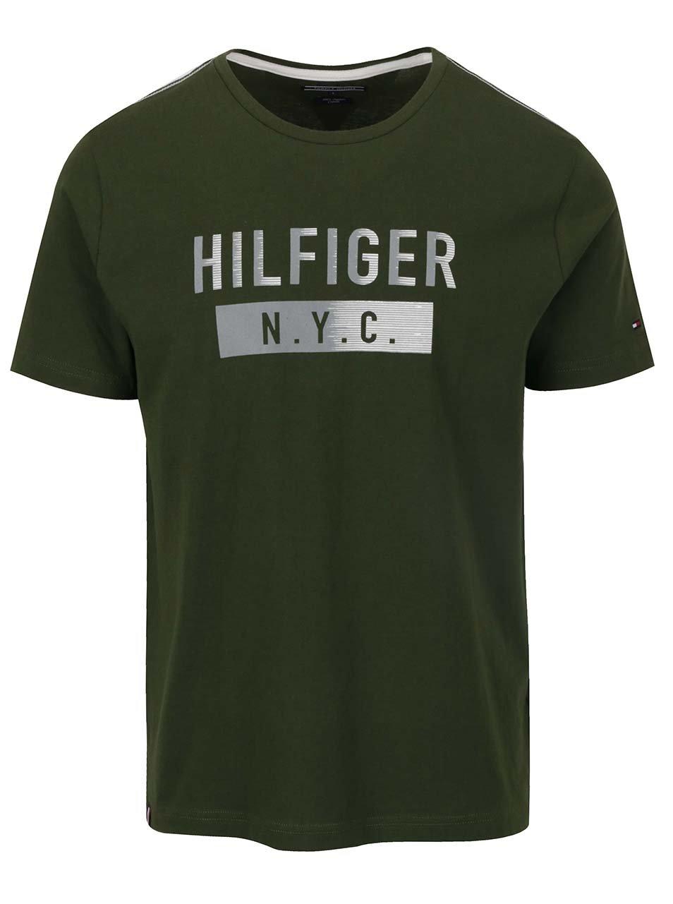 Tmavě zelené pánské triko s plastickým potiskem Tommy Hilfiger