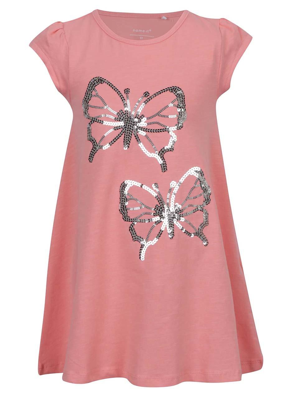 Růžové holčičí šaty s flitry name it Giselina