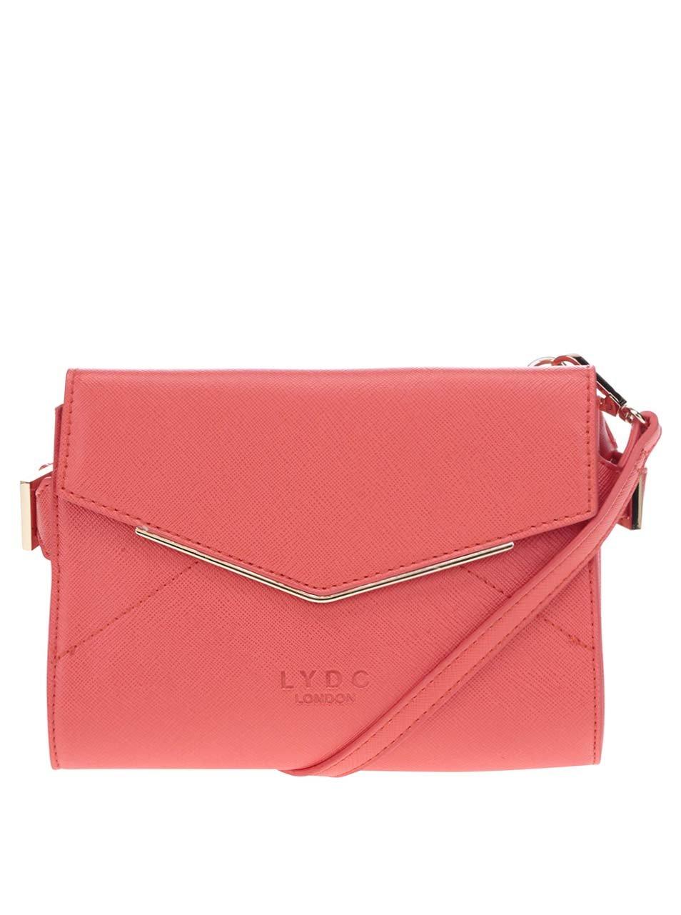 Červená crossbody kabelka s detaily ve zlaté barvě LYDC