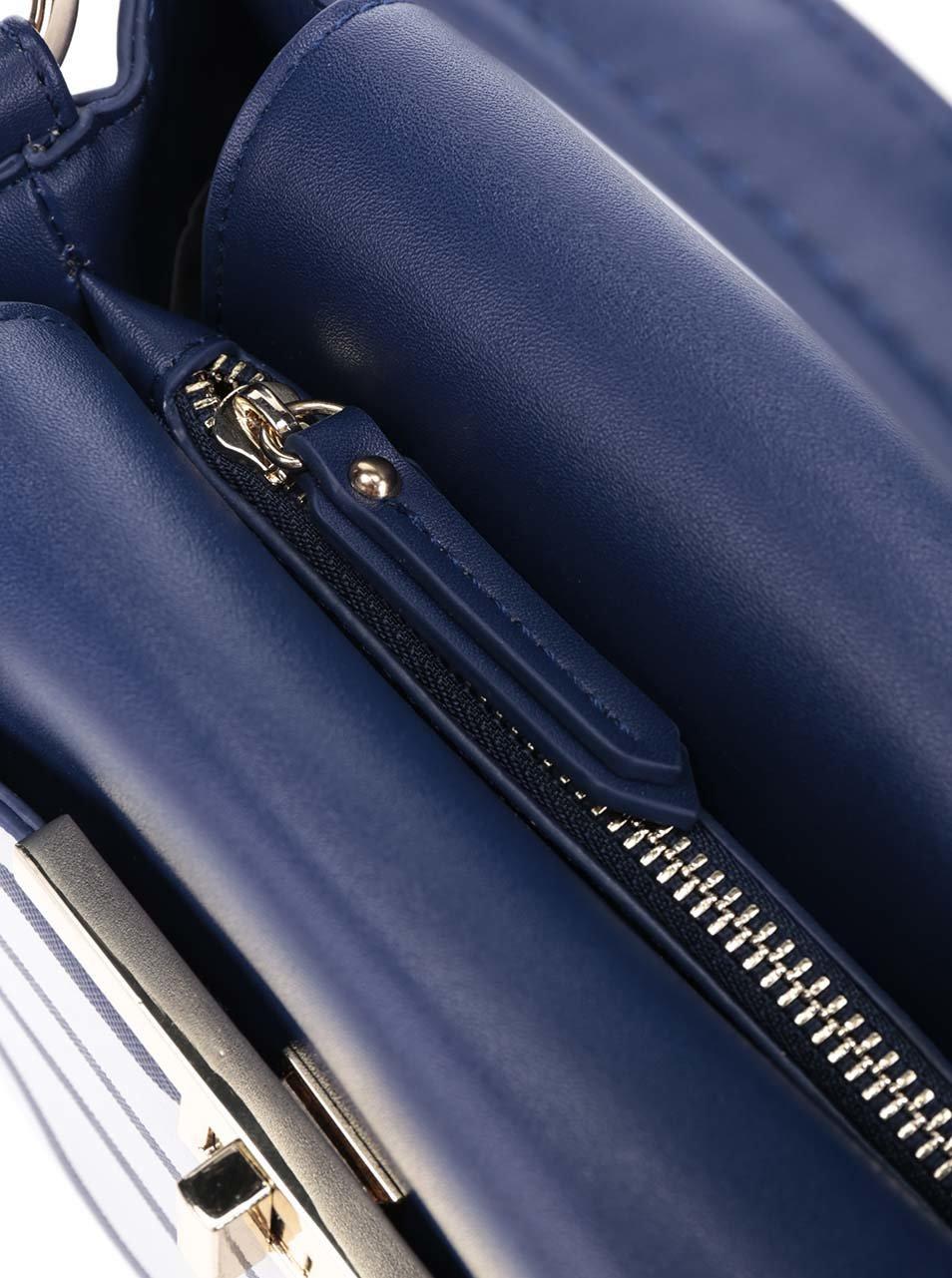Krémovo-modrá crossbody pruhovaná kabelka LYDC