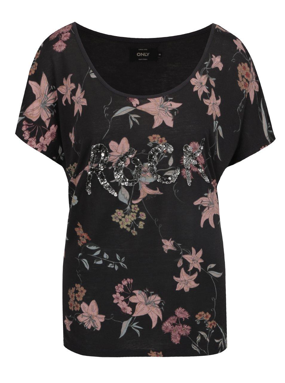 Černé volné květované tričko s příměsí lnu ONLY Iris