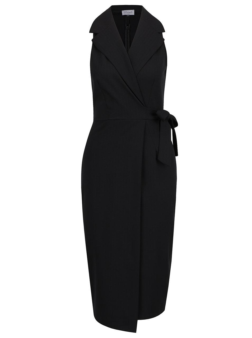 c87c8a5eee2 Černé překládané pouzdrové šaty Closet ŽENY   Šaty   společenské šaty