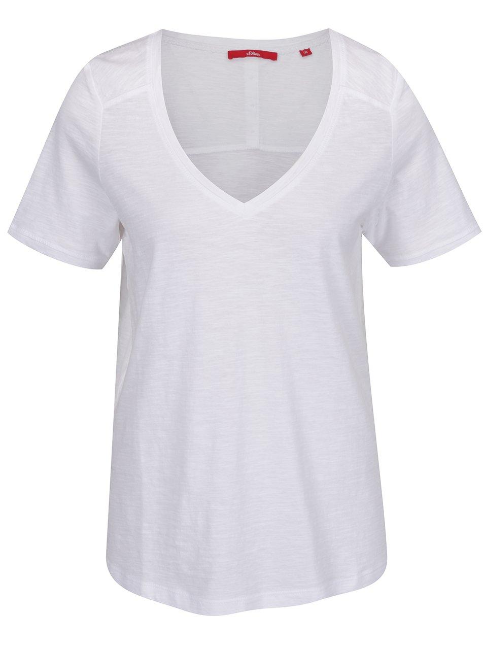 Bílé dámské tričko s knoflíky na zádech s.Oliver